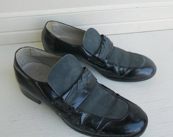 Vintage Men's Patent Leather Mod Two Tone Dress Shoes 10D FREE SHIPPING