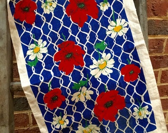 Vintage Mid Century linen tea towel/ fabric/ Red, White and Blue towel