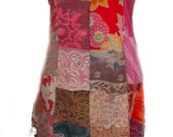 Fair Trade Patchwork Long Dress with Real Batik Patches by Terrapin (404 old batik)