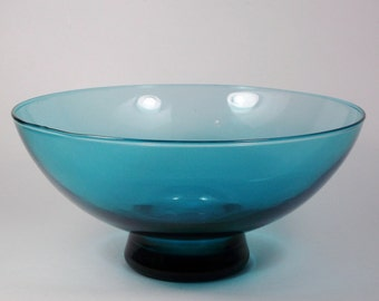 Retro Blue Glass Footed Centerpiece Bowl