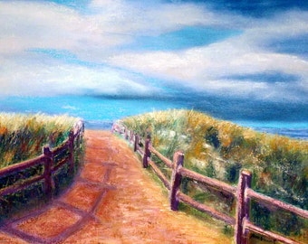 Fine Art Giclee Print of Original Pastel Painting of Beach Path in Avalon, NJ,  signed by artist, Anne Vandegrift
