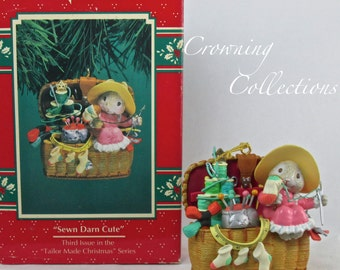 Enesco Sewn Darn Cute Ornament Mice Sewing Basket Treasury of Christmas #3 in Tailor Made