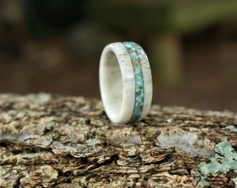 Elk Antler and Natural Turquoise Ring, Mens Ring, Wedding Band, Colorado, Engagement, Anniversary, Inlay, Bone, Comfort Fit