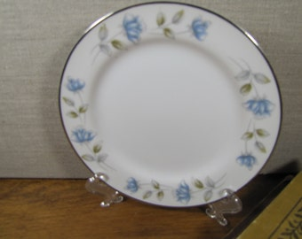 International Silver Co. - Dessert Plate - Elegant Lady - Blue Roses - Made in Japan