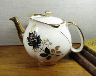 Vintage Gibson's Teapot - Black Rose - Gold Accent - Staffordshire, England