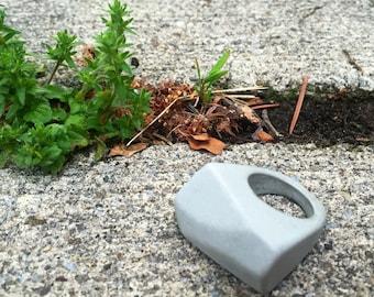 Concrete Industrial Minimalist Ring. Handmade, Simple, Stone, Statement, Unique
