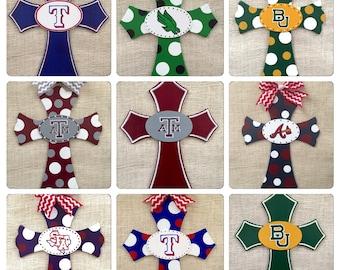 Custom Wooden Cross - hand painted cross - college team cross - university - NFL - Any sports team
