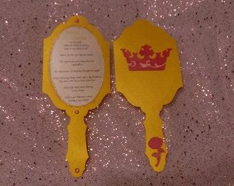 Princess Party - Paper Mirror favor / game / menu / etc. - Set of 12