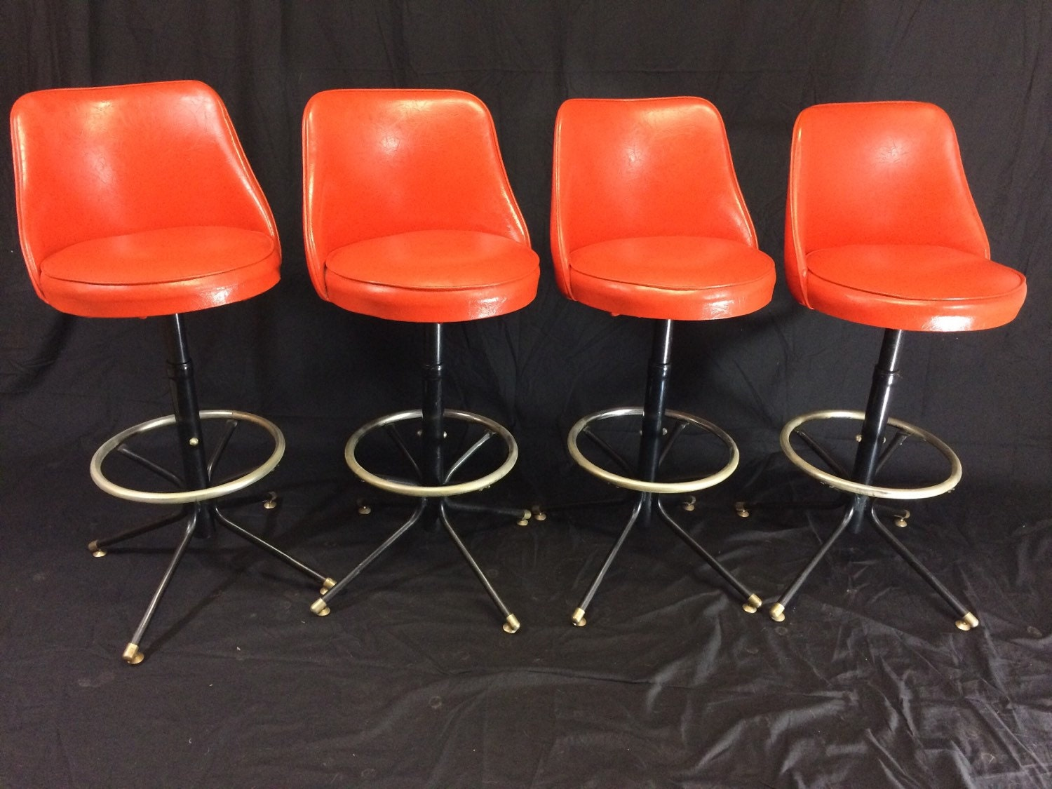 Admiral Chrome Corp Four Retro Bar Stools Atomic Orange Red