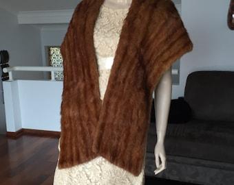 Fur Stole Wrap Long PocketsLined 60s