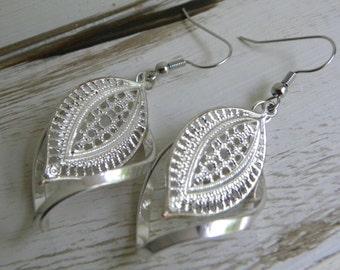 Silver filigree metal work earrings