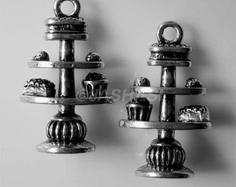 3 Afternoon Tea Cake Stand Tibetan Silver Charms (292)