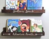 Floating book ledge -  Picture Ledge -  Hanging wall shelf - Personalized Shelf - Book storage - Book organization - Reading Station - Books