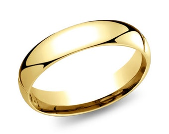 14k yellow gold band 5mm plain polished rounded dome comfort fit - Wedding Rings Yellow Gold