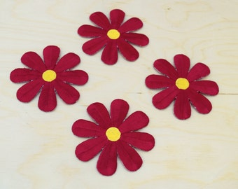 3 Maroon and Yellow Daisy Iron on Patches - Crimson Red, Burgundy, Wine