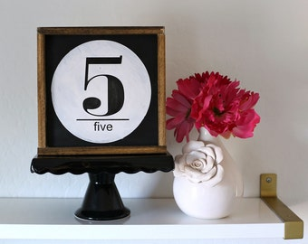 Number Sign, Alphabet Sign, Monogram Sign, Housewarming Gift, Gallery Wall, Capital Letter Sign, Family Sign, Mini Framed Sign, Black White