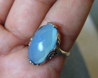 AAA quality natural aqua shade calcedony ring for women ring in 925 sterling silver