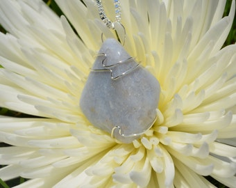 Tumbled Blue Chalcedony Wire Wrapped Stone Pendant