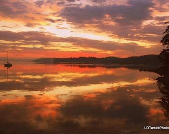Sunset Photograph, Reflection, Seascape, Seashore, Sailboat, Coastal Art, Nautical, Dramatic Sky, Clouds, Beach Art,  Fine Art Print