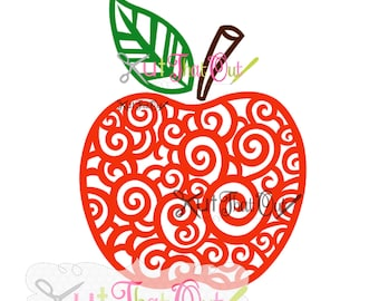 EXCLUSIVE Swirl Scroll Apple SVG and DXF File