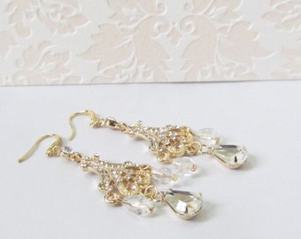 Gold Chandelier Earrings, Wedding Earrings, Statement Bridal Earrings, Pearl Chandelier Earrings, Gold Vintage Style Wedding Jewelry