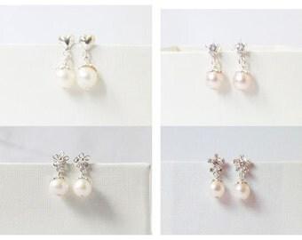 flower girl earrings, kids pearl earrings, flower girl gift, little girl earrings, flower girl jewelry,
