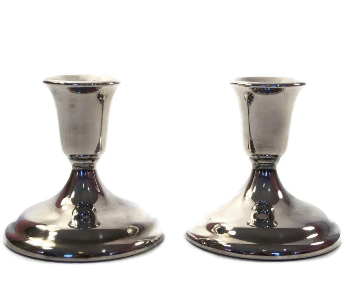 Pair Of Silverplate Candle Holders Silver Candlesticks
