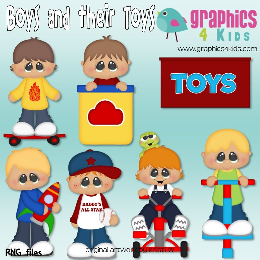 Art Toys For Boys : Boys and their toys digital clipart clip art for
