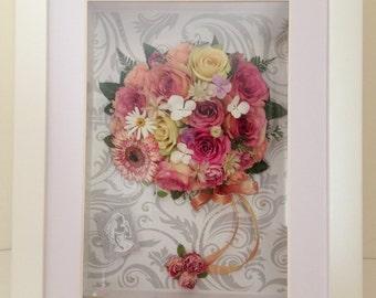 3D bridal bouquet frame