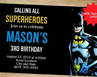 Batman Birthday Invitation - Batman Invitation - Super Heroes Party Invitations - Batman Birthday - Batman - Birthday Invitation