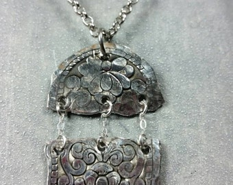 Hammered Recycled Metal Flower Pendant Necklace/double pendant dangle