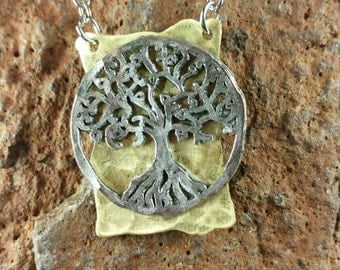 Hammered Brass Tree of Life Pendant Necklace