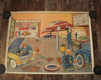French schoolchart, school poster, double sided, 1950s, garage, vintage cars