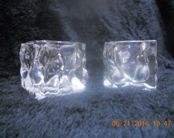 Melted Ice looking Votive or Candle Holders - set of 2
