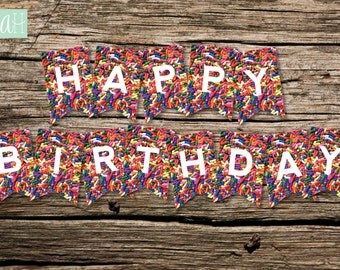 Printable Sprinkles Happy Birthday MINI Pennant Banner: Instant Download
