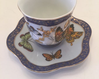 Formalities Butterfly Cup and Saucer~ Demitasse Cup and Saucer ~ Tea cup and Small Plate ~ Baum Bros ~ Has spot