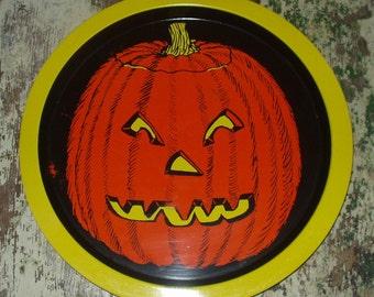 Vintage Halloween Metal Tin JOL Pumpkin Treat Tray Decoration Party Hong Kong