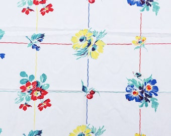 vintage white table cloth with flowers