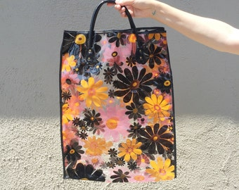 vintage vinyl tote bag shopper
