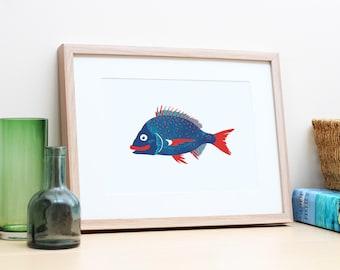 Nautical themed Australian fish poster print. Boy's nursery or bedroom wall art. Beach house coastal decor. Gift for fisherman or foodie.