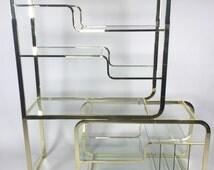 Milo Baughman Brass & Glass Etagere for DIA hollywood regency mid century