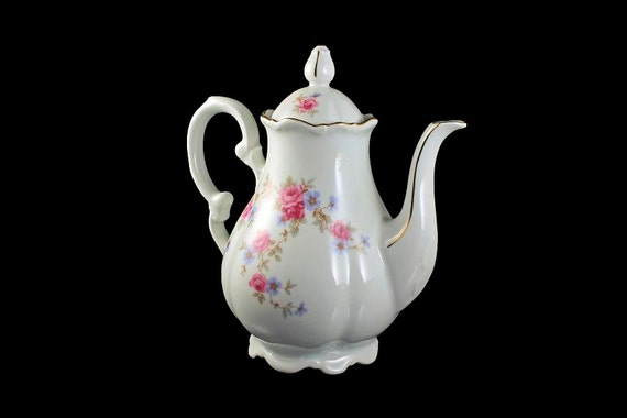 Teapot, Mitterteich Bavaria, Rosella, Coffee Pot, Fine China, Footed Teapot, Gold Trimmed