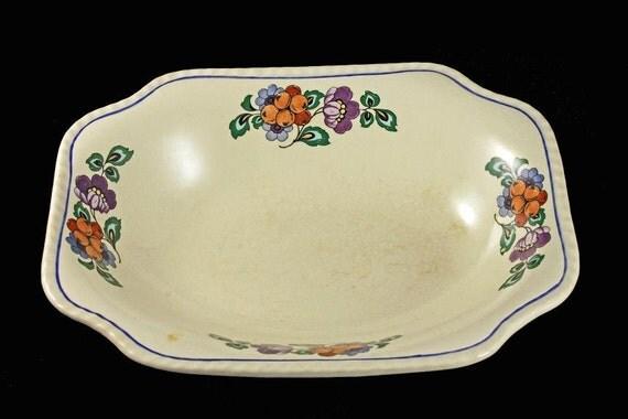 Vegetable Bowl, Steubenville Pottery, Steubenville Ivory, Square Bowl, Fruit and Flower Pattern