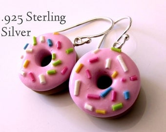 Pink Sprinkles Doughnut Earrings with Sterling Silver