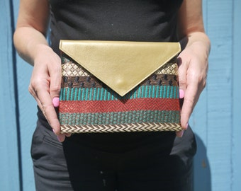 Stylish gold leather and embroidered silk evening purse from Gg and Me
