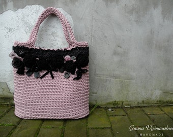 Knitted Bag/ Rope Bag/ Handmade Bag/ Crochet Bag/ Unique bag/ Beach Bag/ Summer Handbag/ Market Bags/ Gift for wife / Summer bag/Pink bag