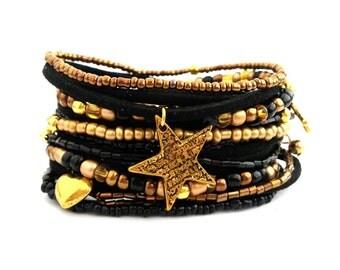 Black Gold Wrap Bracelet Seed Bead Bracelet Beaded Bracelet Seed Bead Jewelry Stretch Bracelet Black Gold Jewelry Charm Bracelet