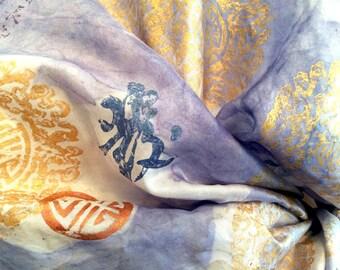 Designer Silk Scarf, Nanking Pattern