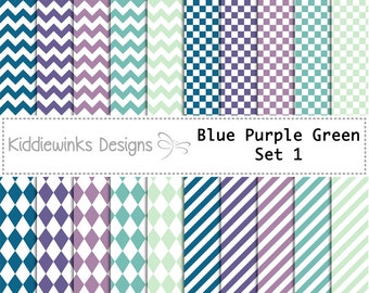 Blue Purple Green Digital Paper. Chevron, Diagonal Lines, Diamonds, Squares. For Commercial Use.