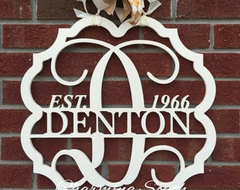 Wooden Last Name Monogram, Est. Date, Anniversary gift, Wedding gift, Personalized Home Decor